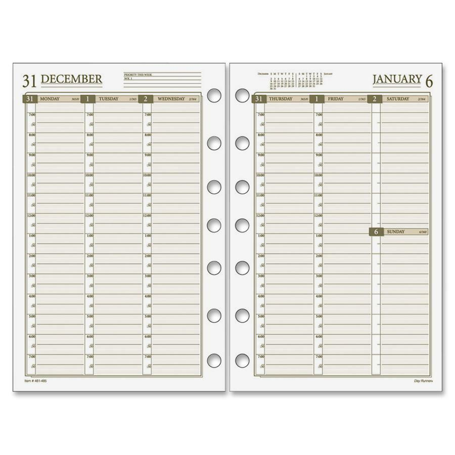 photo about Day Runner Binder named Working day Runner Vertical Weekly Designing Web pages - White Printing