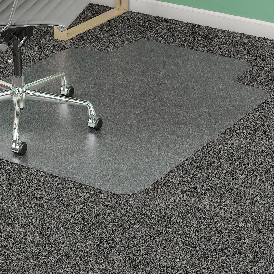lorell plushmat wide lip chairmat 60 length x 46 width x