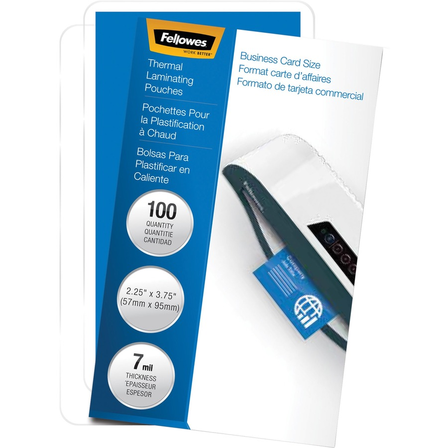 Fellowes Glossy Pouches - Business Card, 7 mil, 100 pack - Walker\'s ...