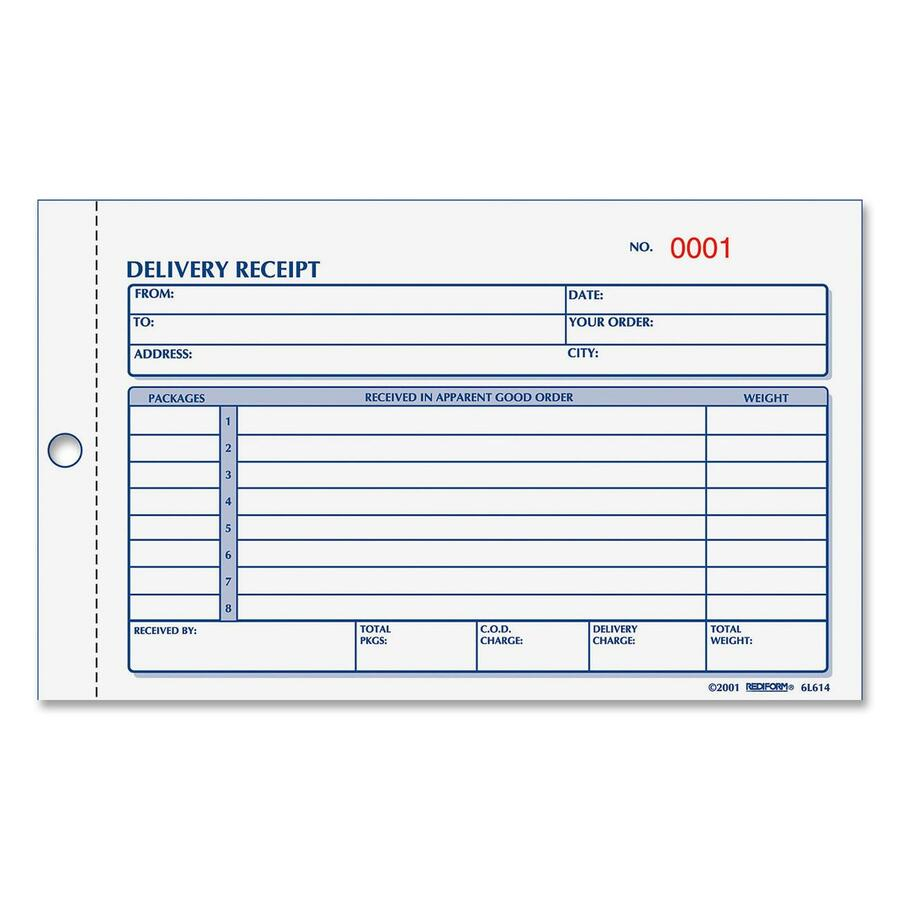 Rediform 6L615 Rediform Delivery Receipt Book RED6L615 RED – Payment Receipt Book