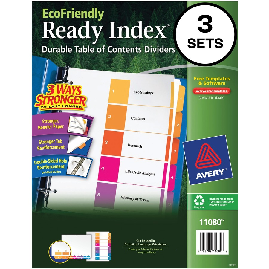 Avery ecofriendly ready index table of contents ider ave11080