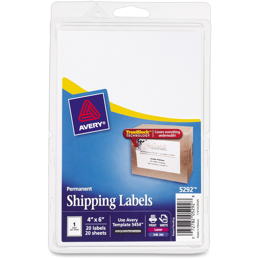 Avery shipping labels with trueblock technology ave5292 for Avery 4 up label template