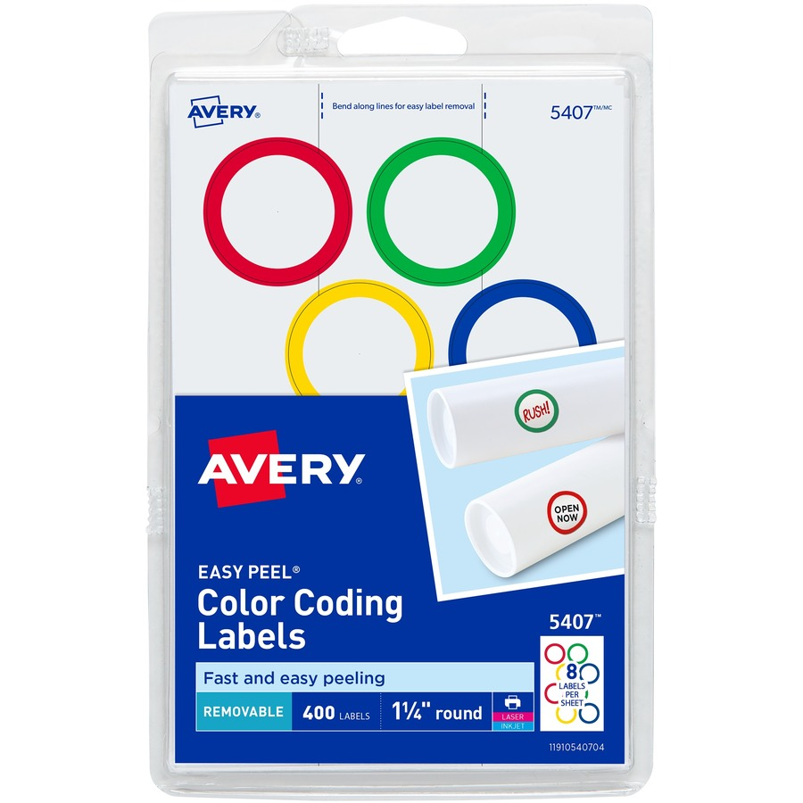 Custom Card Template avery stickers : Discounted Savings: Avery Color-Ringed Round Label