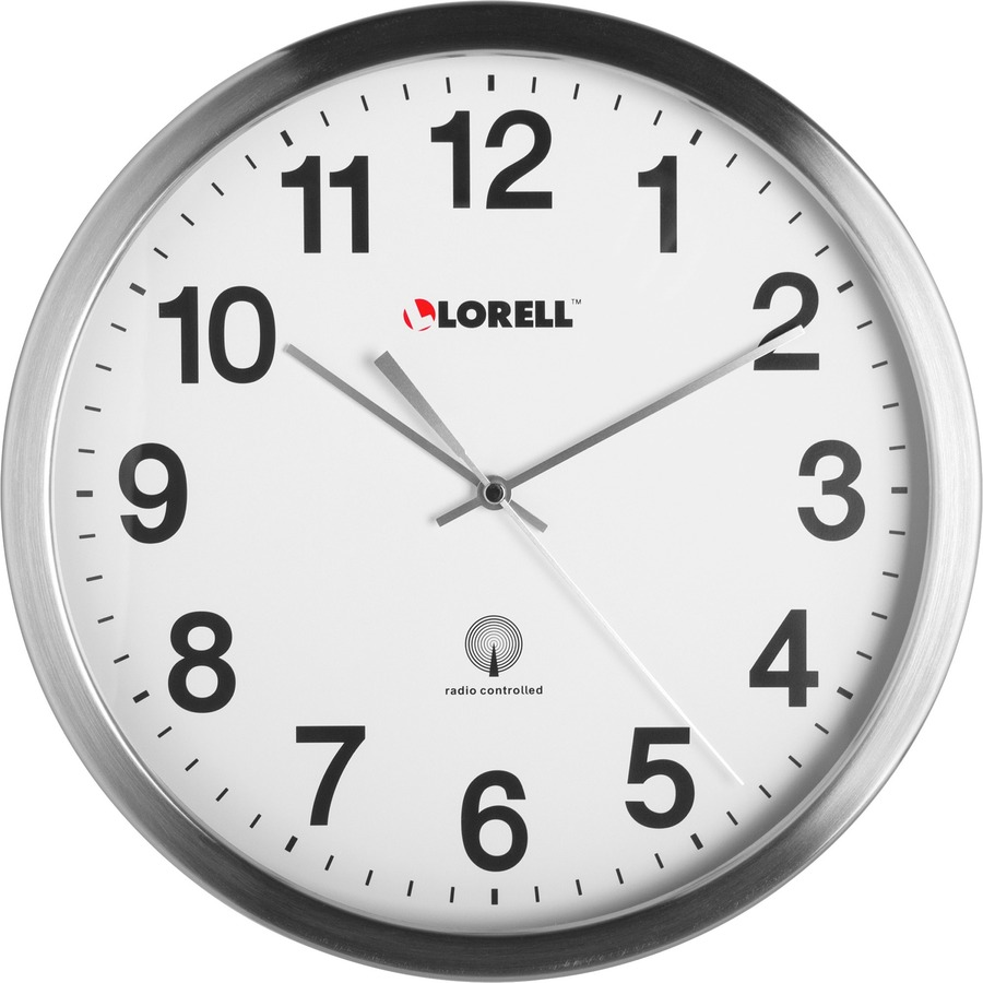 Lorell brushed nickel plated atomic wall clock llr61001 - Large brushed nickel wall clock ...