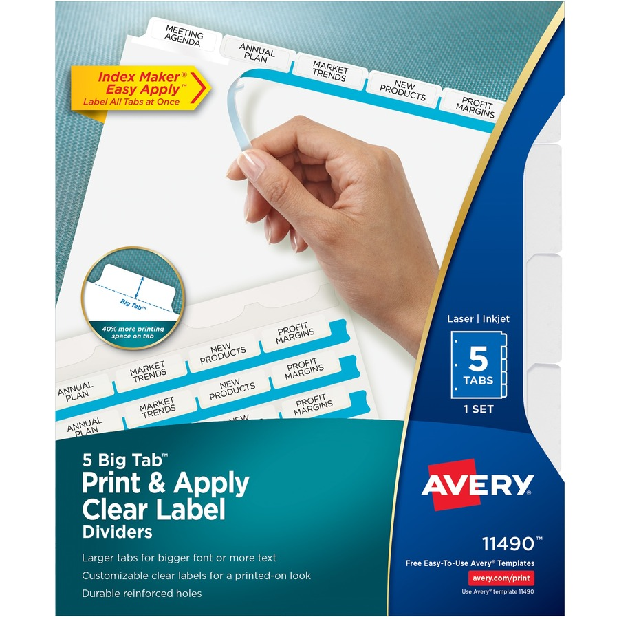 Avery big tab index maker clear label divider ave11490 for Avery large labels