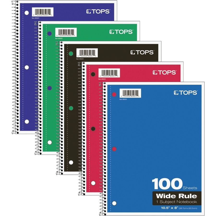 TOPS Wide Rule 1 Subject Spiral Notebook TOP65031