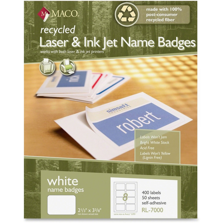 maco recycled laser inkjet name badge labels mac papers inc
