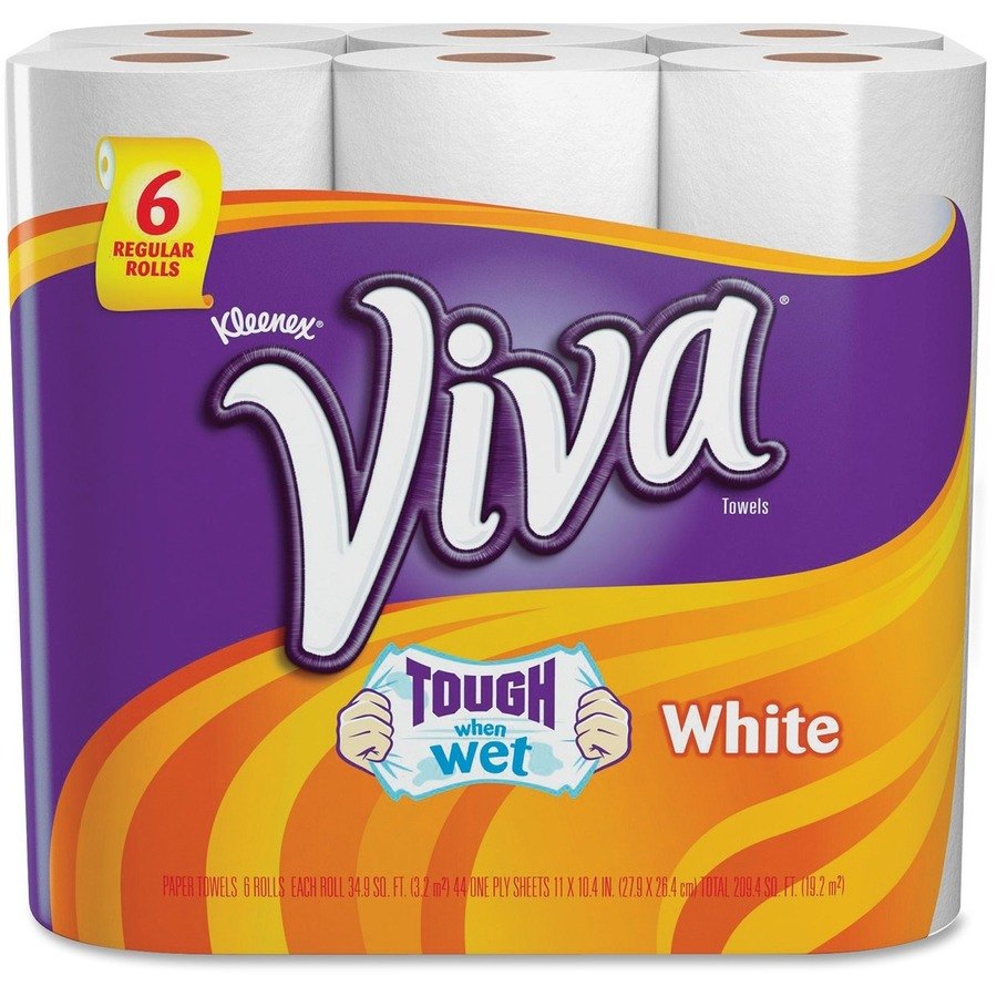 Kleenex Viva Paper Towels 1 Ply - 44 Sheets/Roll - 6 / Pack - White