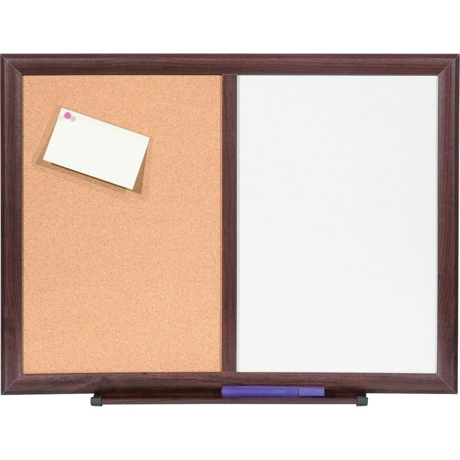 Lorell Dry Erase Mahogany Frame Cork Combo Boards LLR84270
