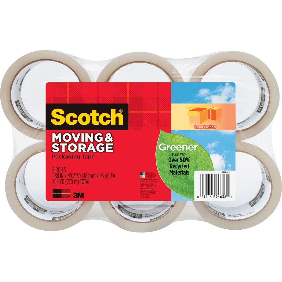 """Scotch Recycled Moving/Storage Packaging Tape 1.88"""" Width x 54.60 yd ..."""