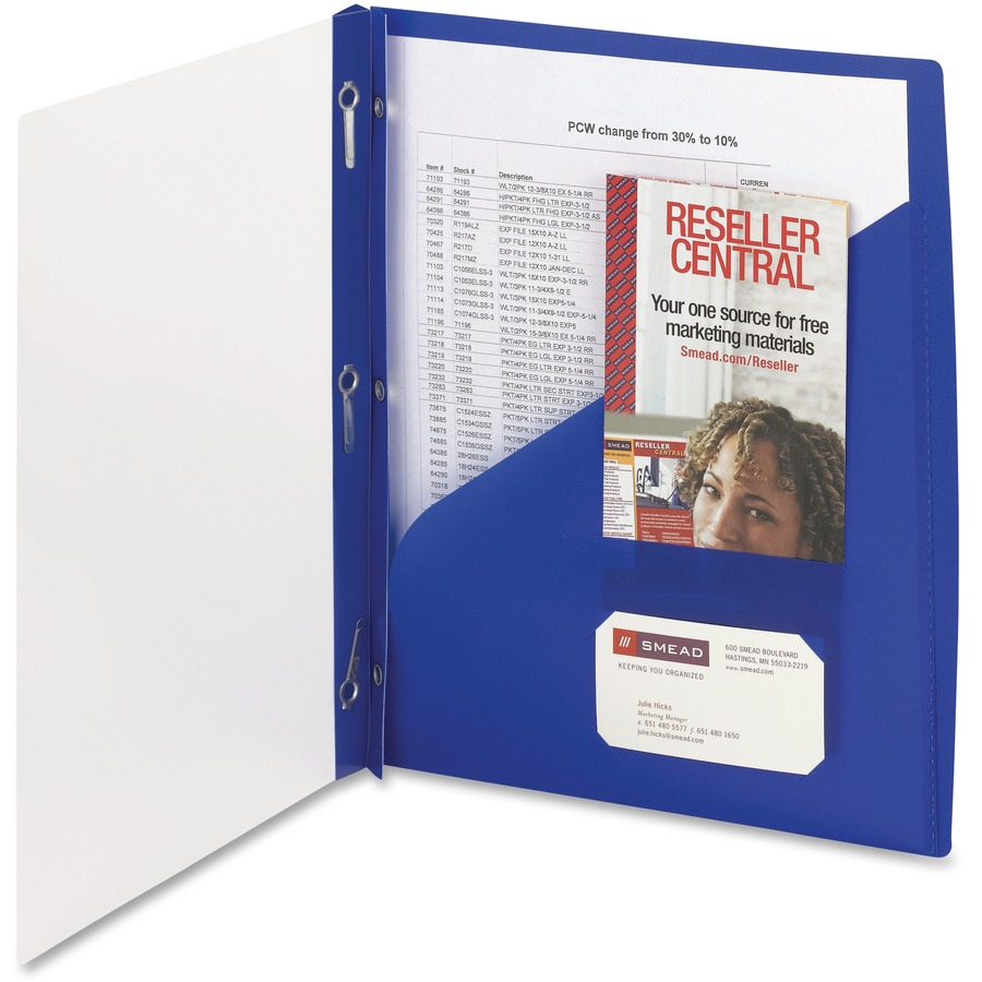 smead clear front poly report cover  3 tang