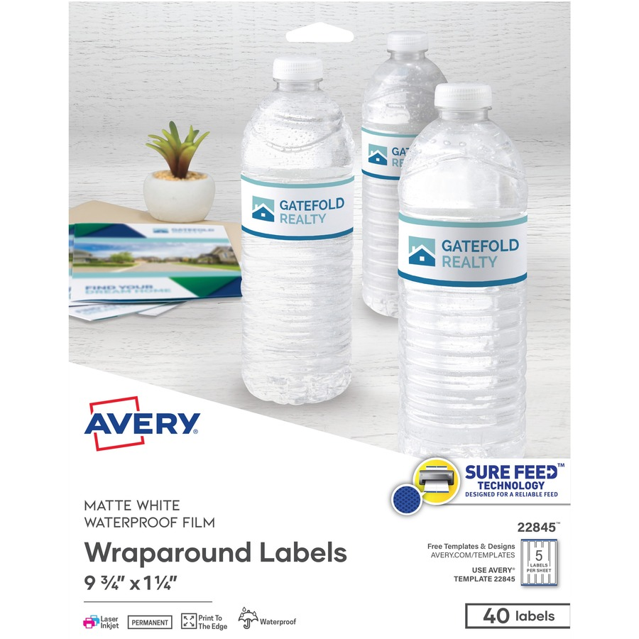 avery white conformable durable wraparound labels With avery waterproof water bottle labels