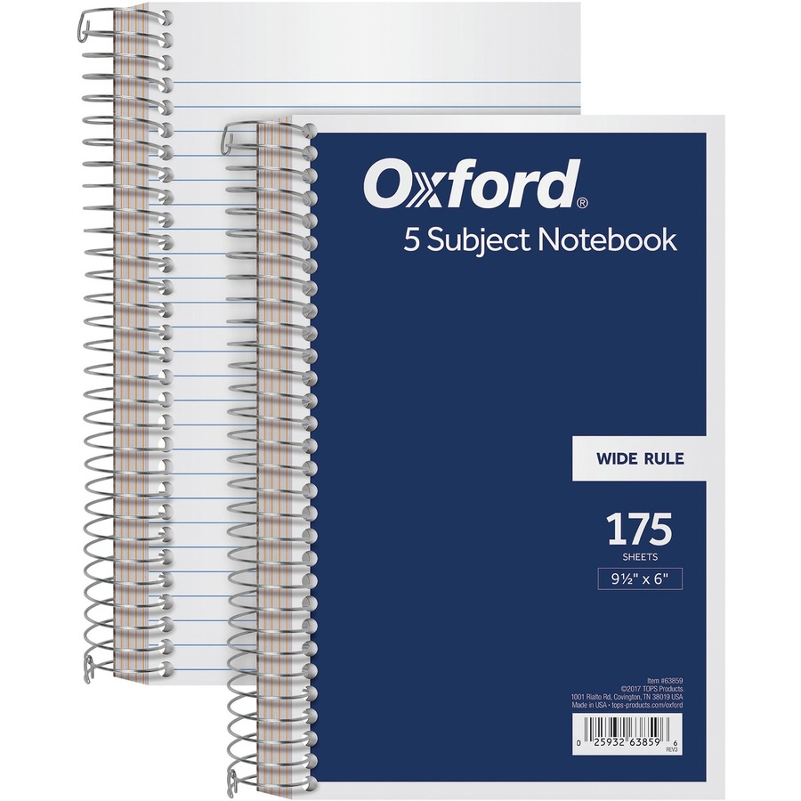 Rediform office products subject wirebound notebook wide - Tops 5 Subject Wirebound Notebook Top63859