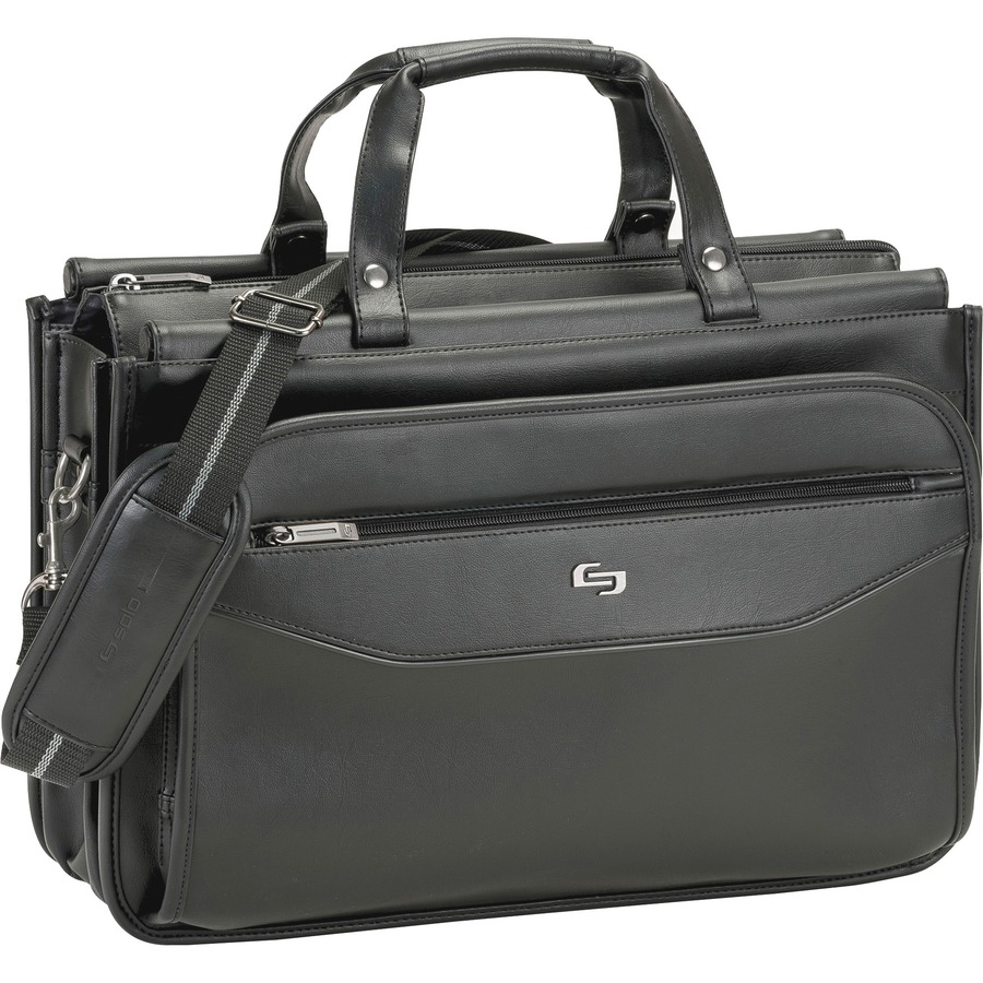 Solo carrying case briefcase for 16 notebook business card solo carrying case briefcase for 16 notebook business card accessories pen file folder black shoulder strap handle 12 height x 17 width x 8 colourmoves Gallery