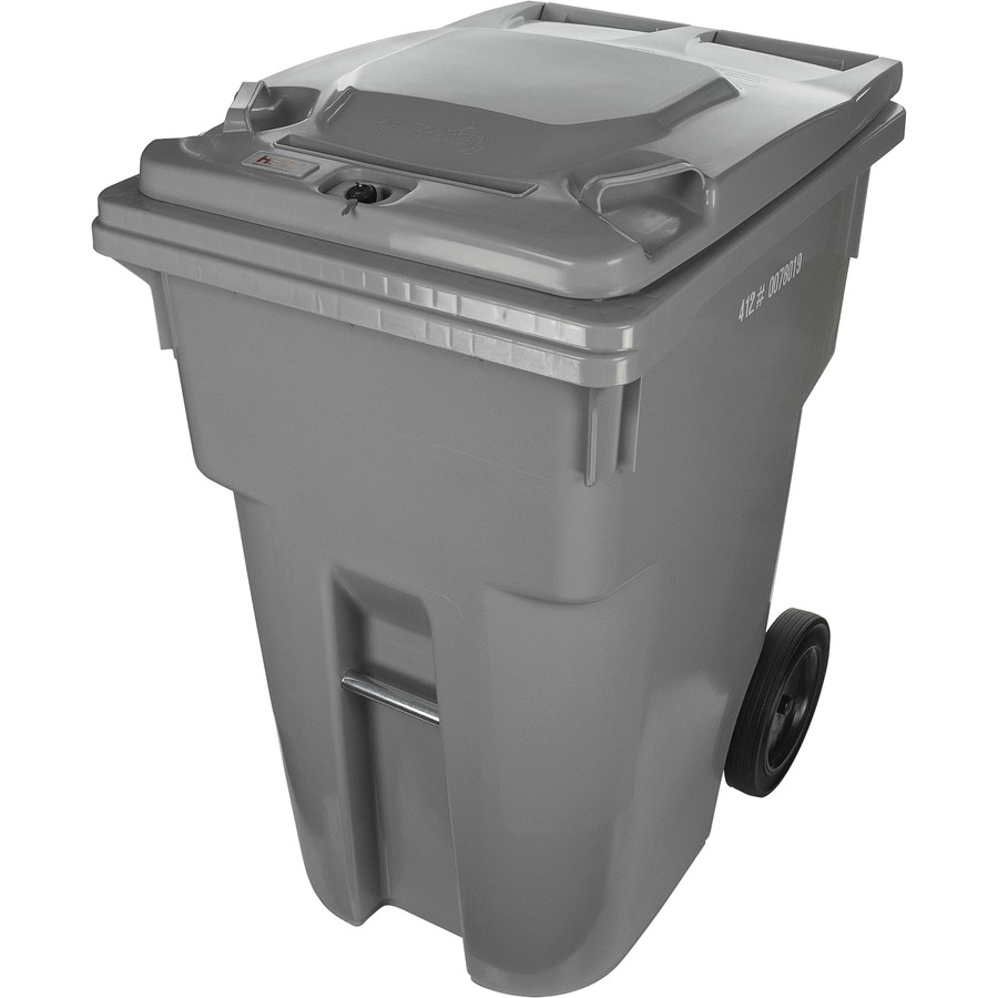 HSM 95 Gallon Shred Cart  HSM95GI360L64LS on lockable trash bin