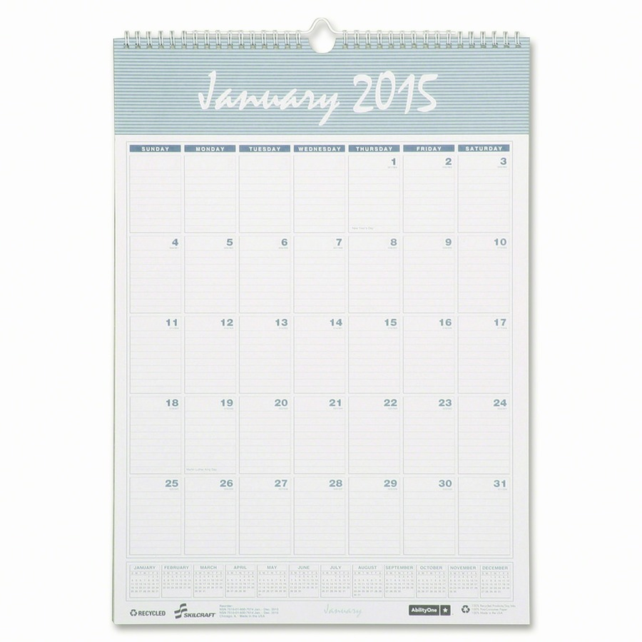 """12 - Month Wall Calendars - Wirebound, 12"""" x 17"""" Daily, Monthly - 12 ..."""