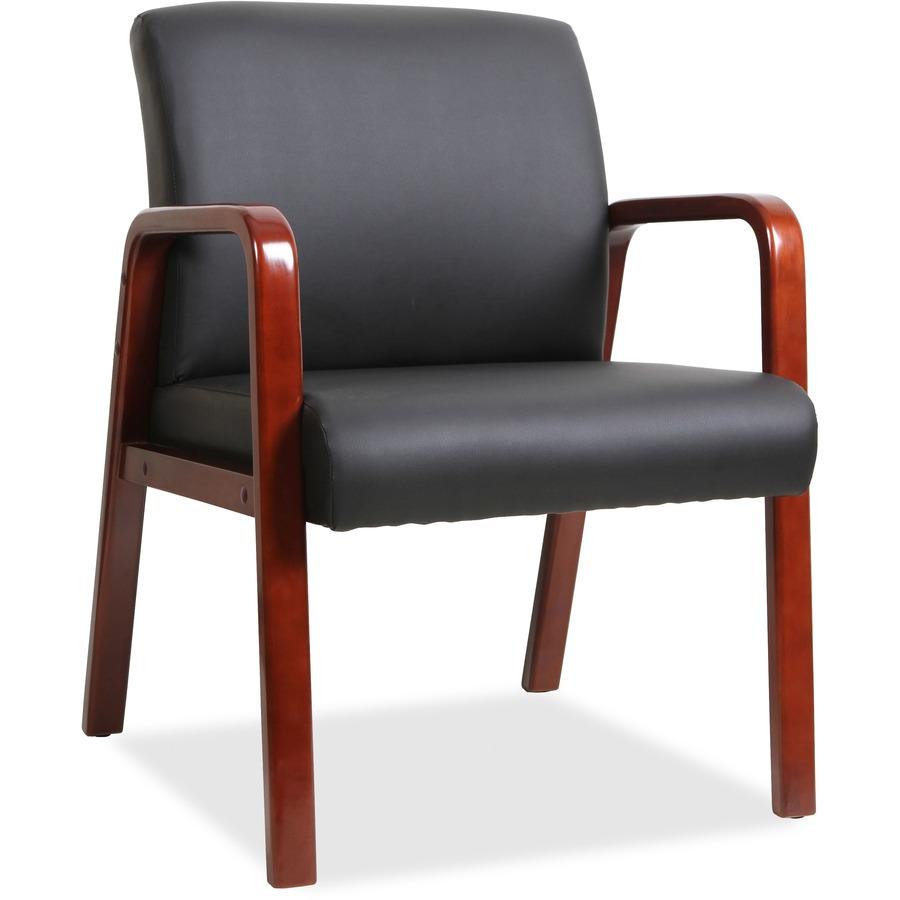 llr40202 lorell black leather wood frame guest chair office supply hut. Black Bedroom Furniture Sets. Home Design Ideas