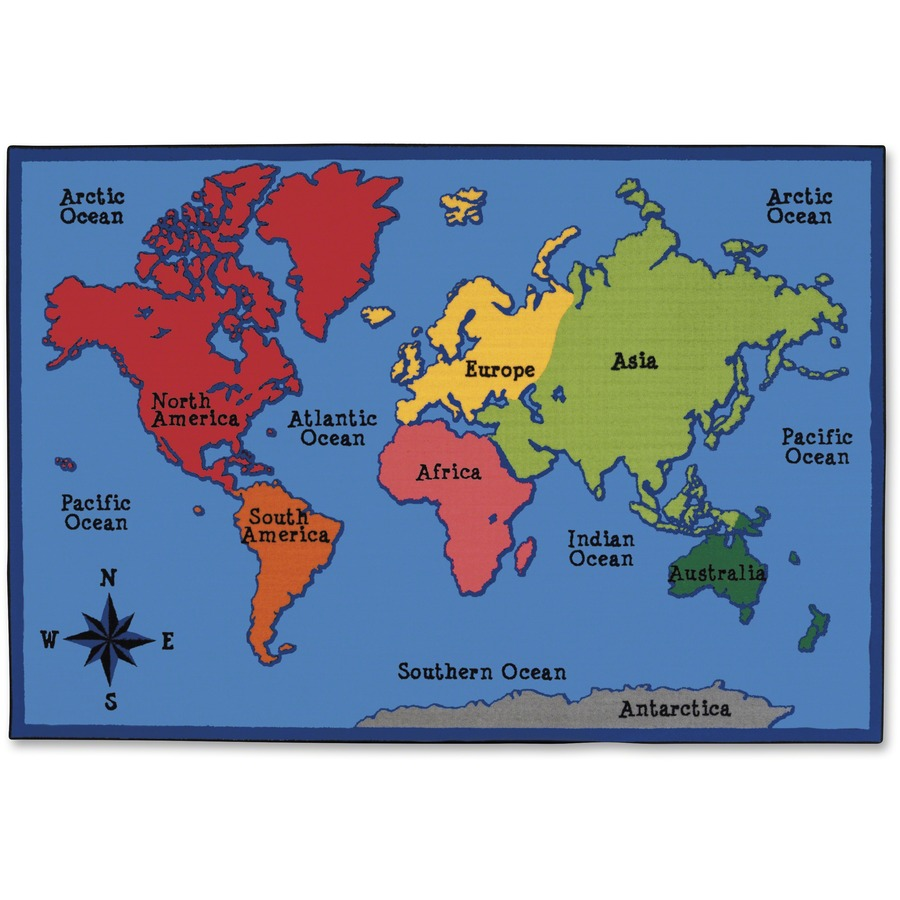 Carpets For Kids Value Line World Map Design Rug Cpt