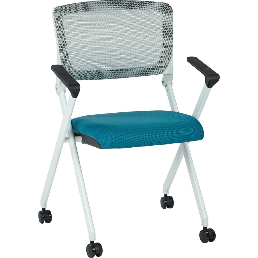 office star folding chair with flex back fabric blue seat white