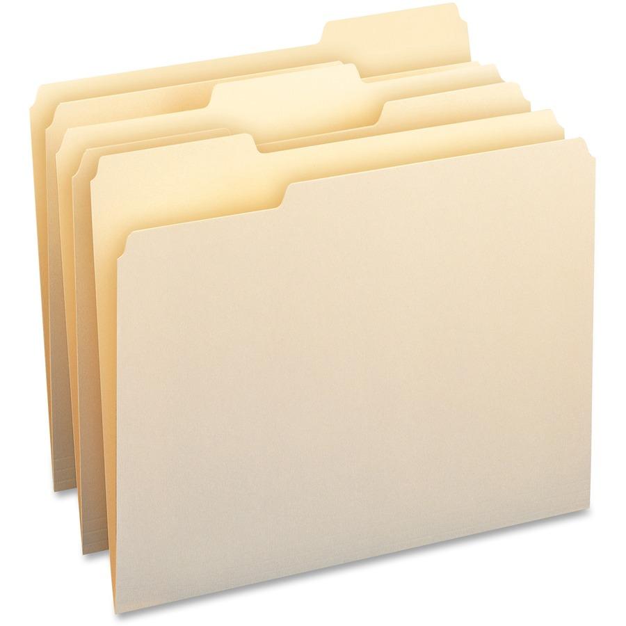 Business Source 1 3 Cut Cutless Manila File Folders Bsn