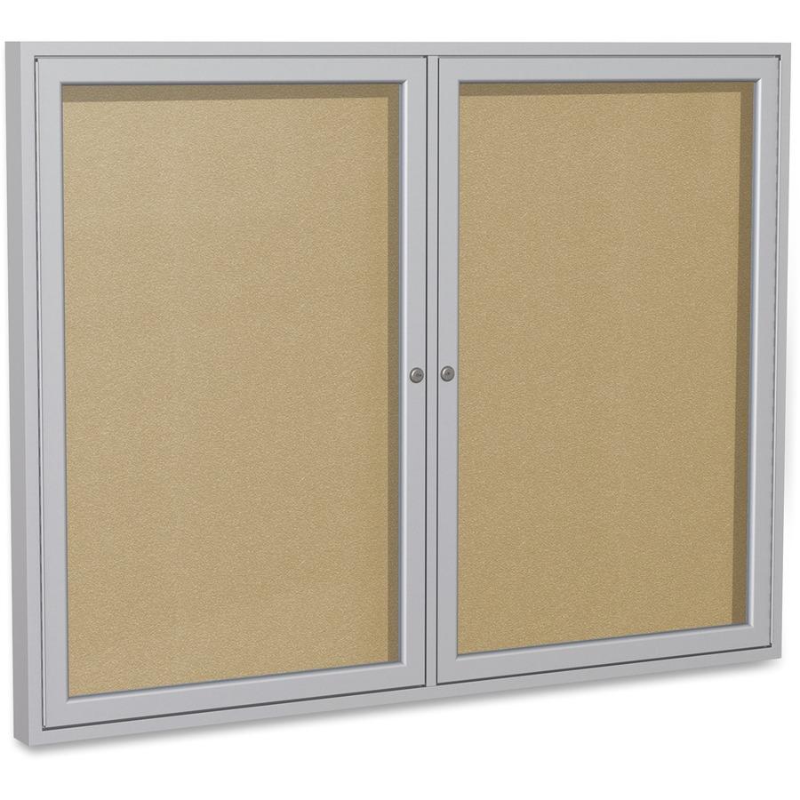 Ghent 2-Door Outdoor Enclosed Vinyl Bulletin Board - Great Office Buys