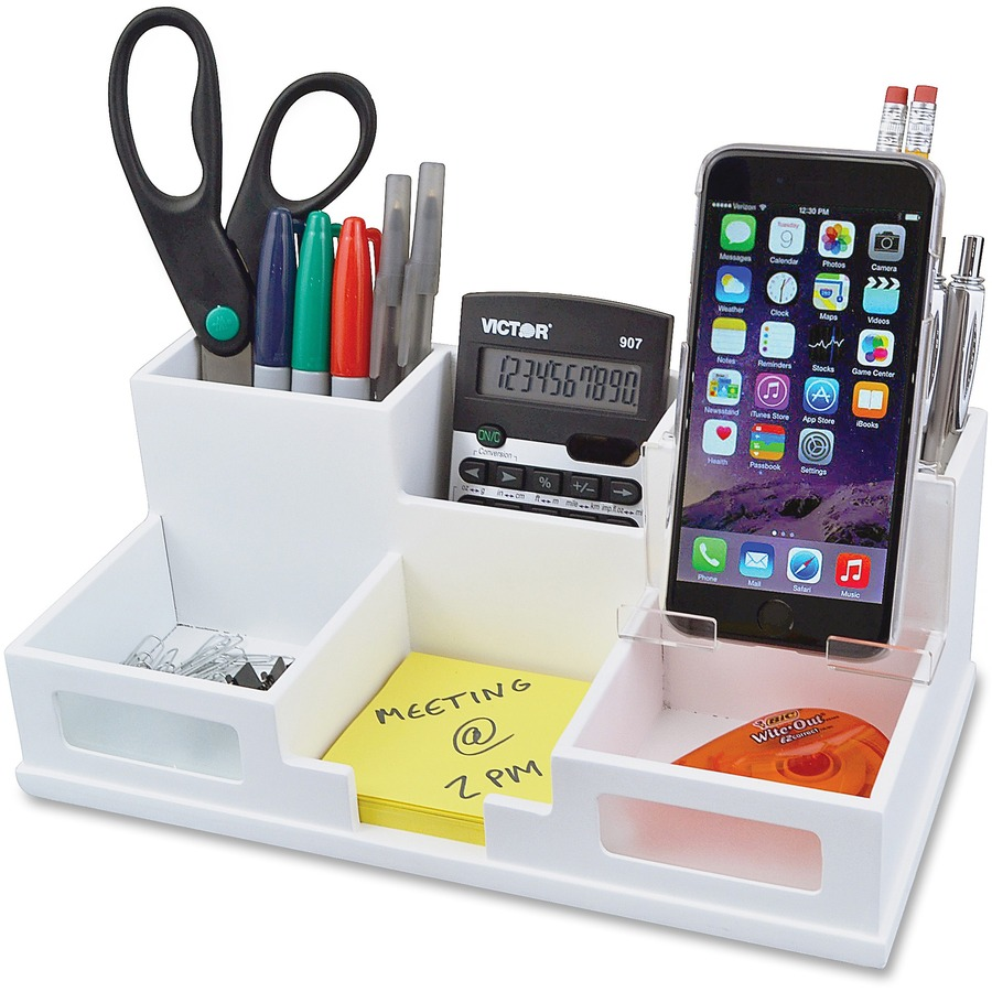 Victor w9525 pure white desk organizer with smart phone - Desk organizer white ...