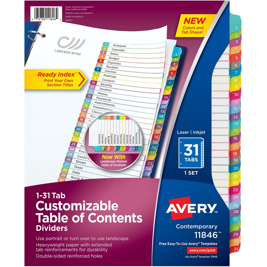 Avery Ready Index 1 31 Tab Dividers Ave11846 Supplygeeks