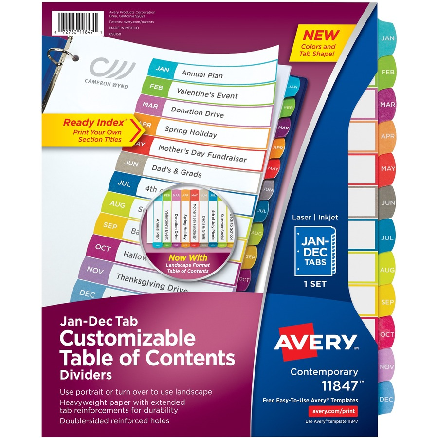 Avery Ready Index Customizable Table of Contents Contemporary ...