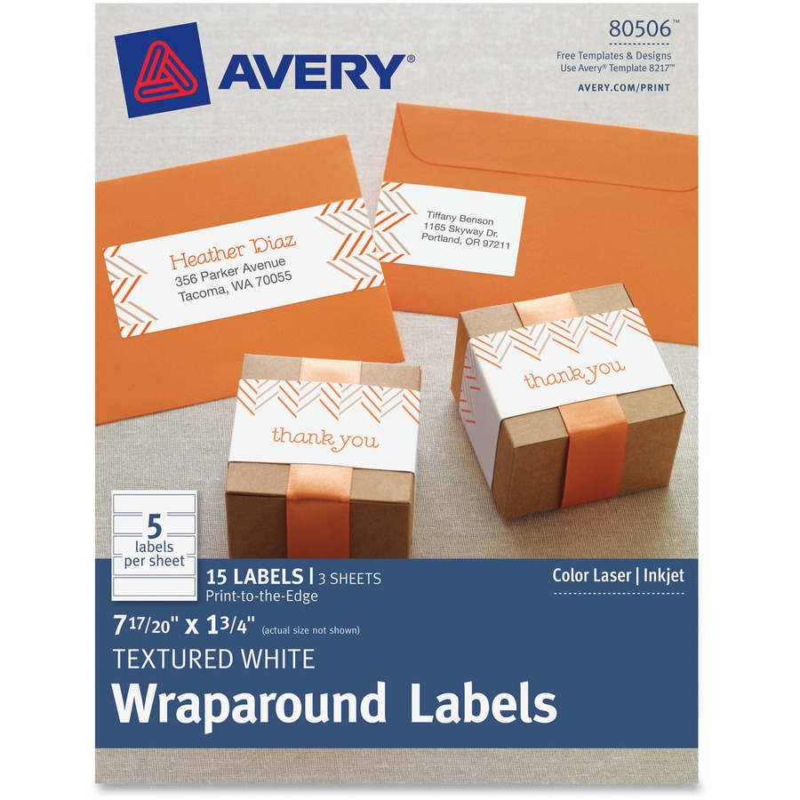Custom Card Template print avery labels : Avery Textured White Print-to-the-Edge Wraparound Address ...