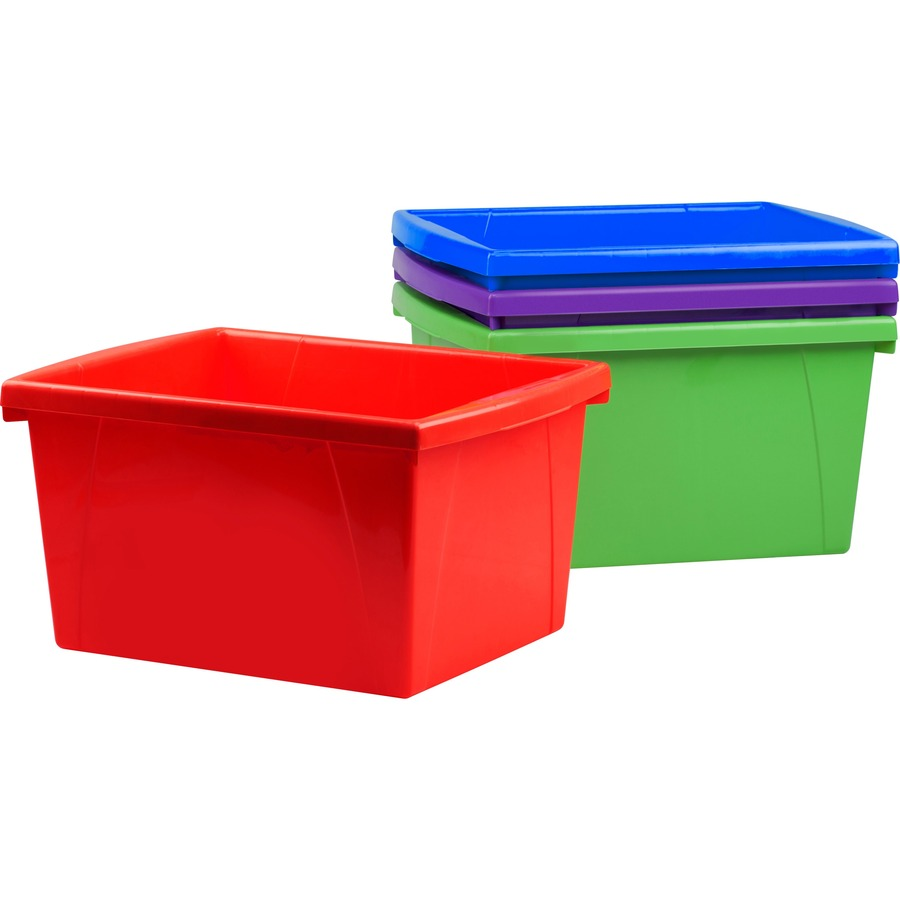 X 4 Piece Small Storage Bins External Dimensions 13 6 Length 11 3 Width 7 9 Height Stackable Assorted Bright For File Office Supplies