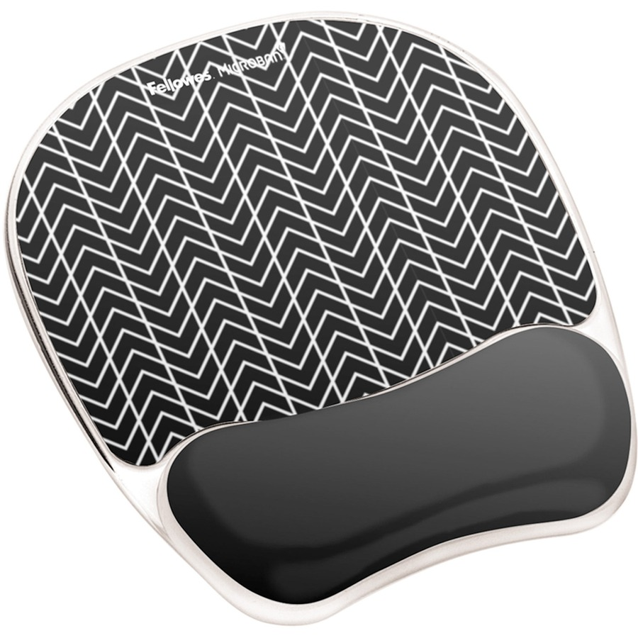 Fellowes Photo Gel Mouse Pad Wrist Rest With Microban Black
