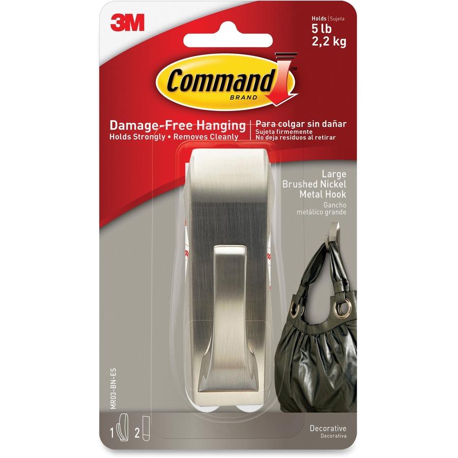 Command Strips 5 Lb. Brushed Nickel Hook 5 Lb (2.27 Kg) Capacity   For  Painted Surface, Wood, Tile   Metal   Nickel   1 / Pack