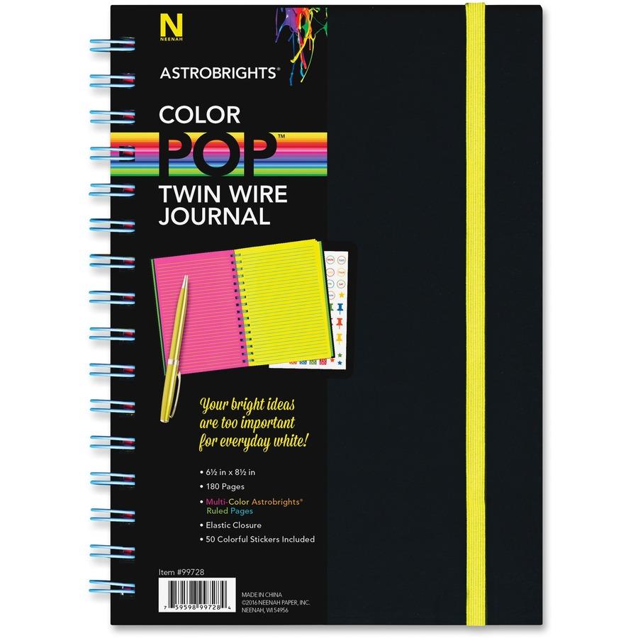 astrobrights twin wire journal with black soft touch cover mac