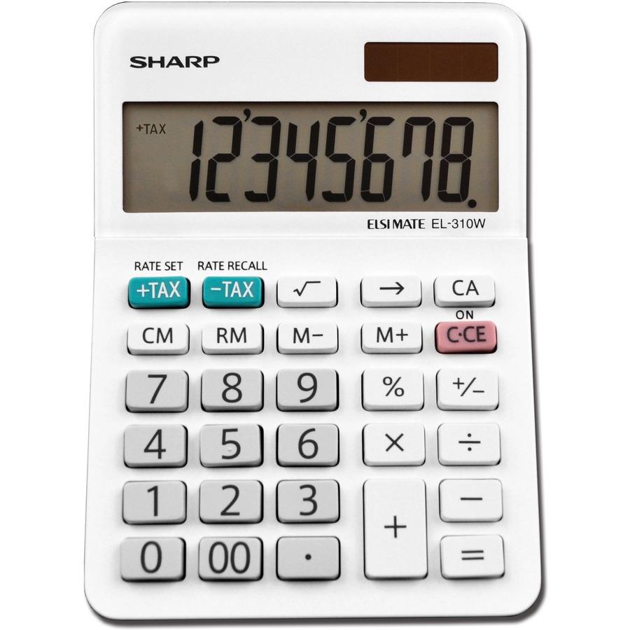 Sharp El 310wb 8 Digit Professional Mini Desktop Calculator Shrel310wb