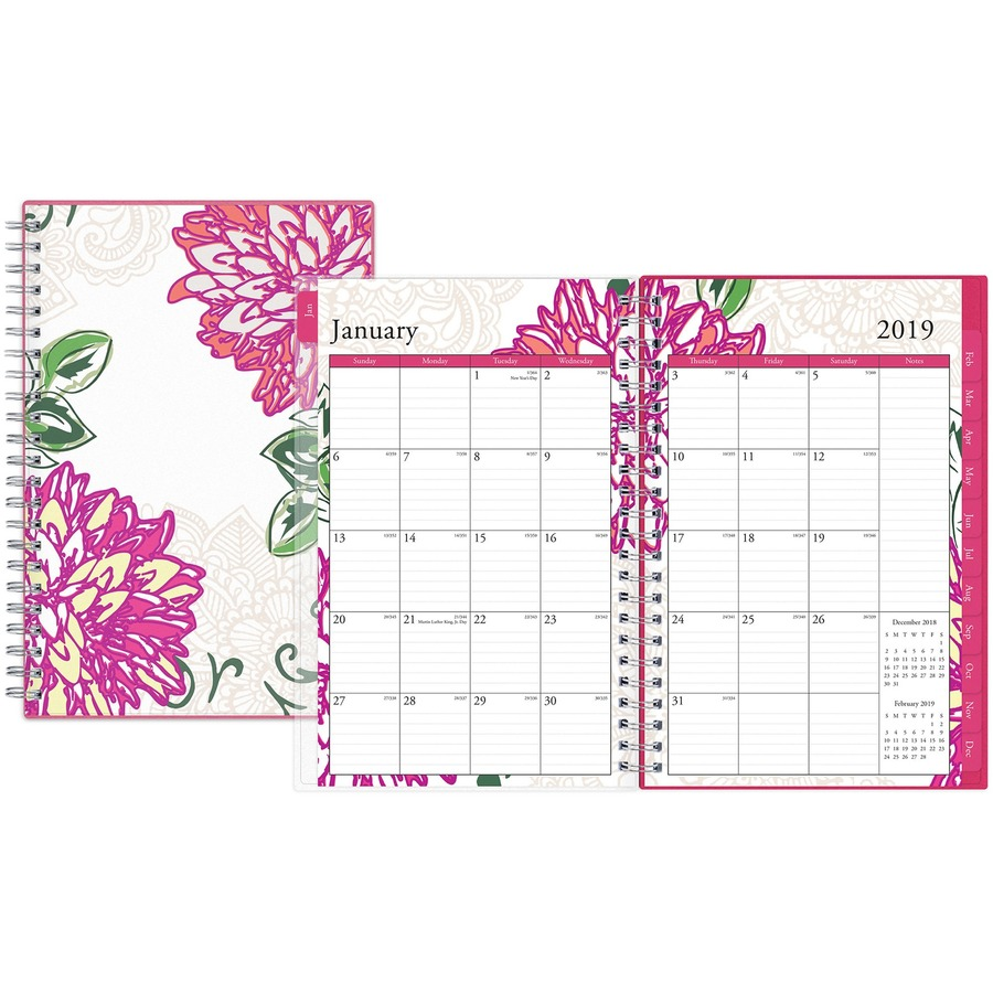Blue Sky Dahlia Small Weekly/Monthly Planner - Small Size - Yes ...