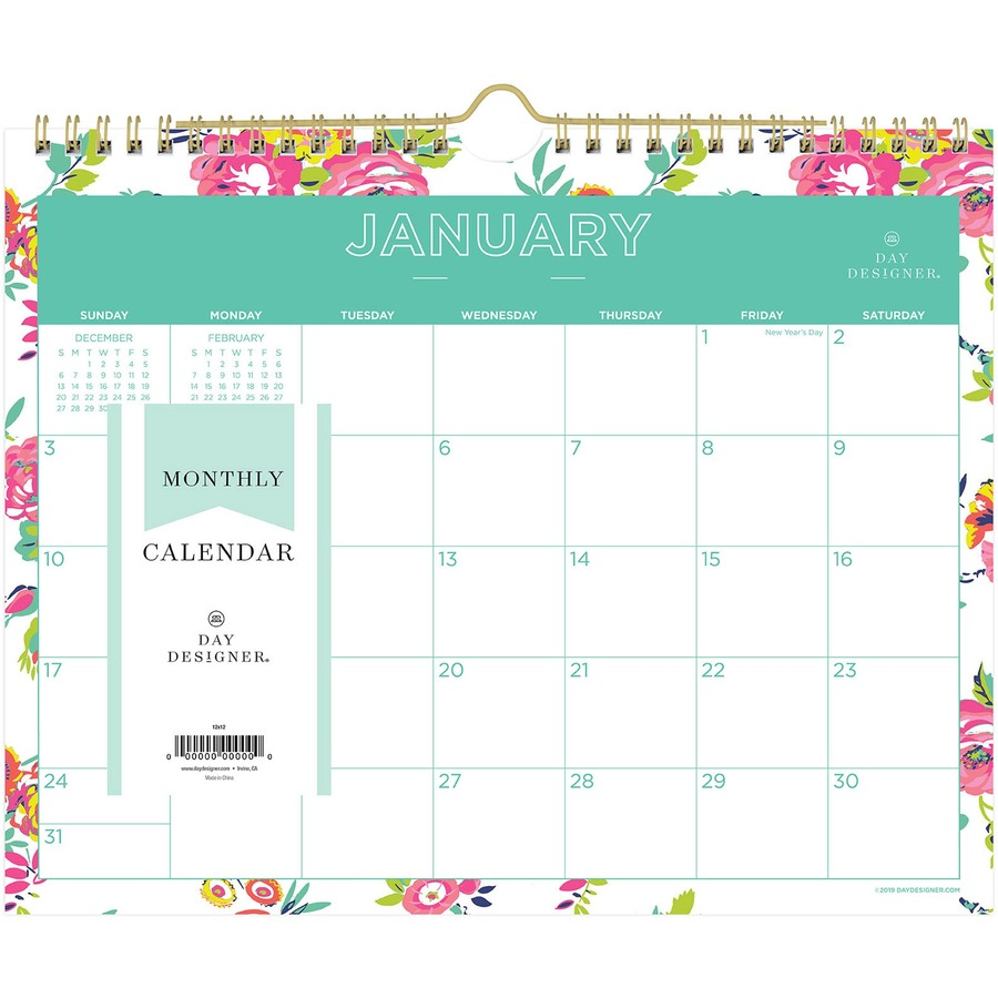 Blue Sky Day Designer White Floral Wall Calendar - Urban Office Products