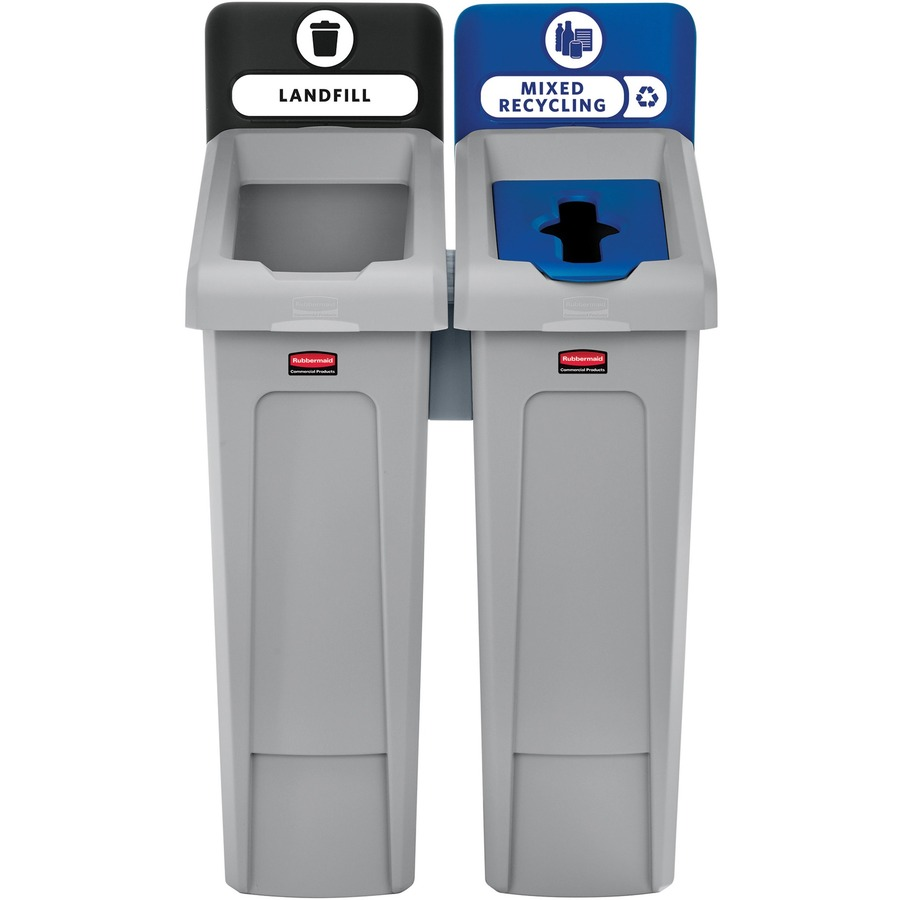 Rubbermaid Commercial Slim Jim Recycling Station Black, Blue