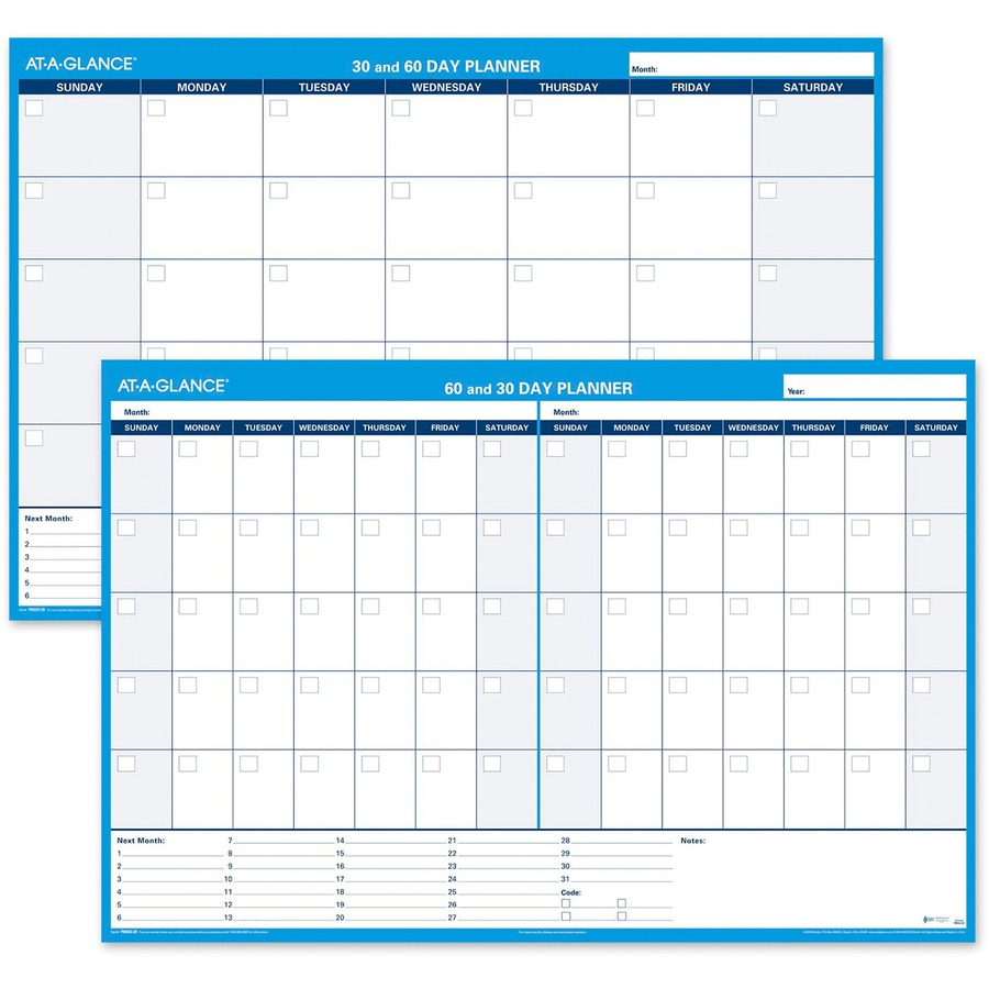 """At-A-Glance 30/60 Day Undated Horizontal Wall Planner 48"""" x 32"""" - Wall ..."""