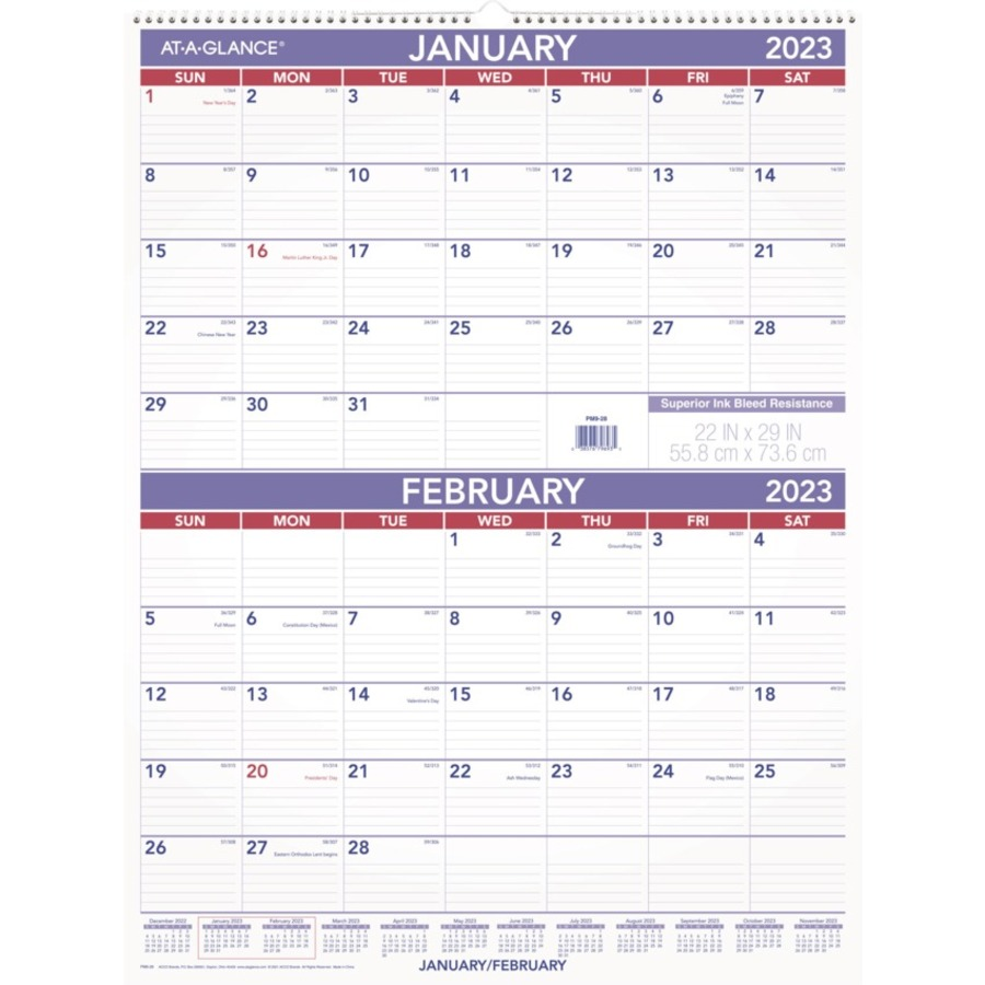 Calendar At A Glance : At a glance pm two month per page wall