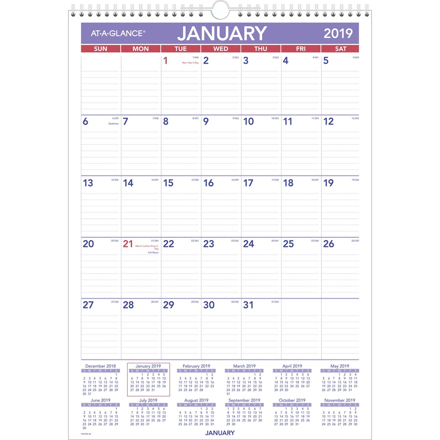 At-A-Glance Laminated Monthly Wall Calendar - AAGPMLM0228 - Blue Cow ...