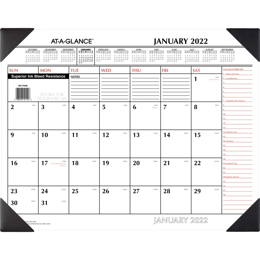 At-A-Glance 2-Color Desk Pad Calendar Julian - Monthly - 1 Year ...