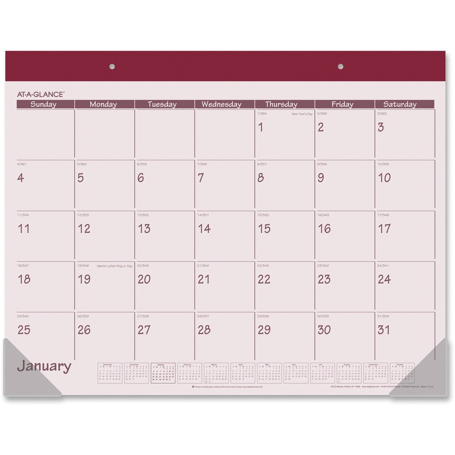 At-A-Glance Monthly Fashion Desk Pad Calendar Monthly - 1 Year ...