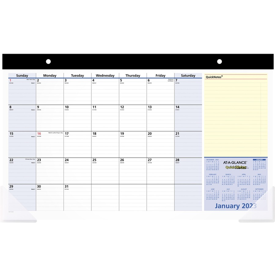 Year Calendar Desk : At a glance quicknotes monthly desk pad