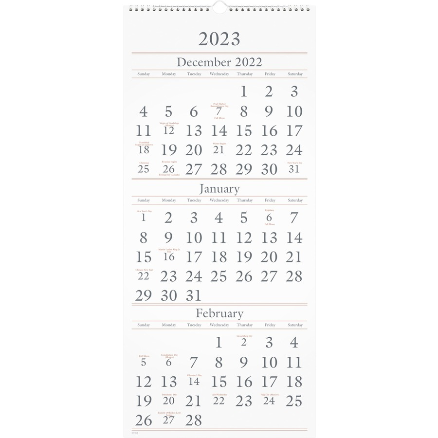 at-a-glance 3-months reference wall calendar