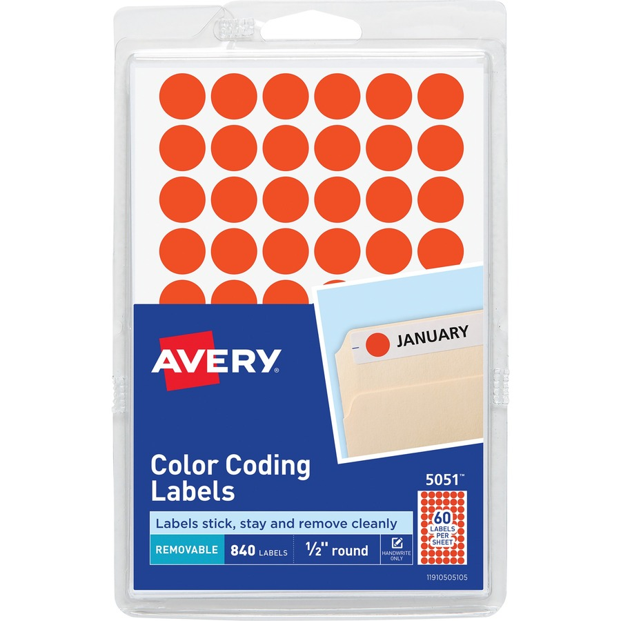 Avery round color coding label ave05051 supplygeekscom for Half inch round labels