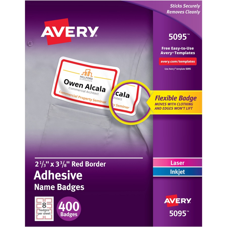 avery flexible adhesive name badge labels degroot technology