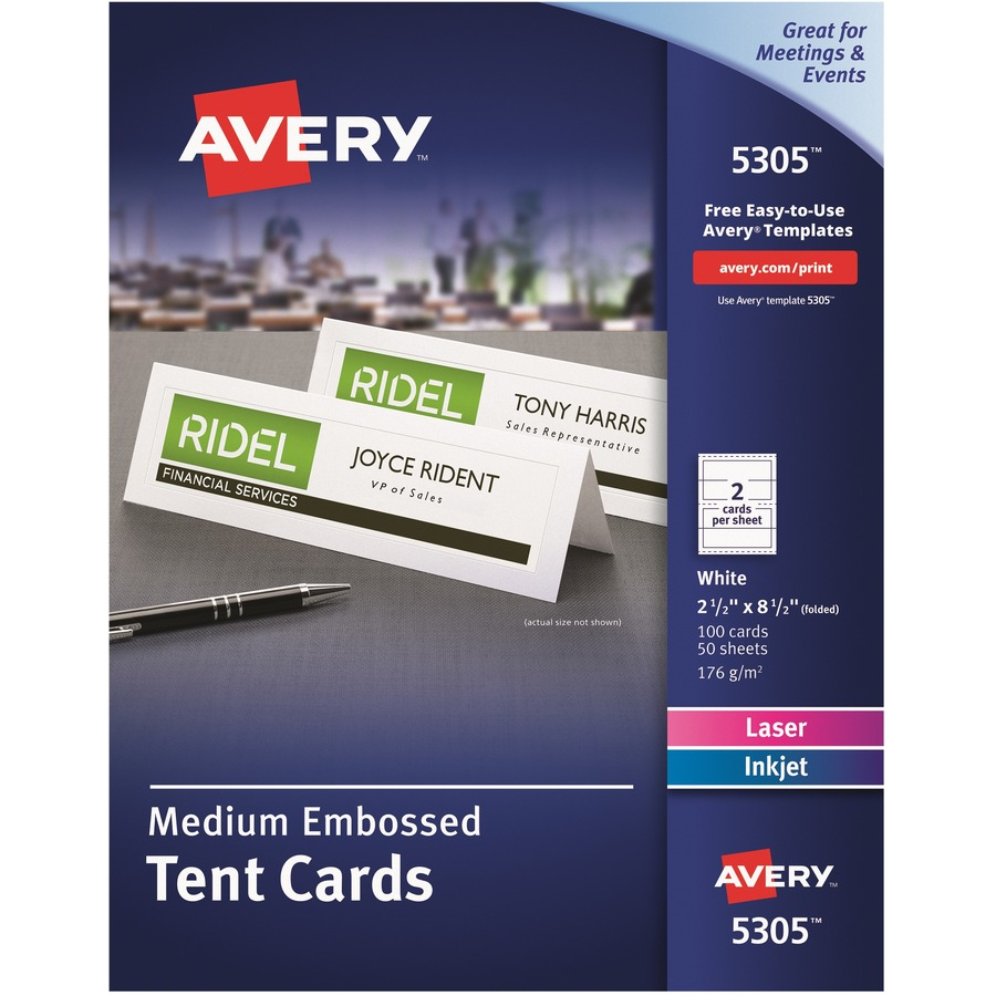 avery laser inkjet embossed tent cards ave5305 blue cow office products