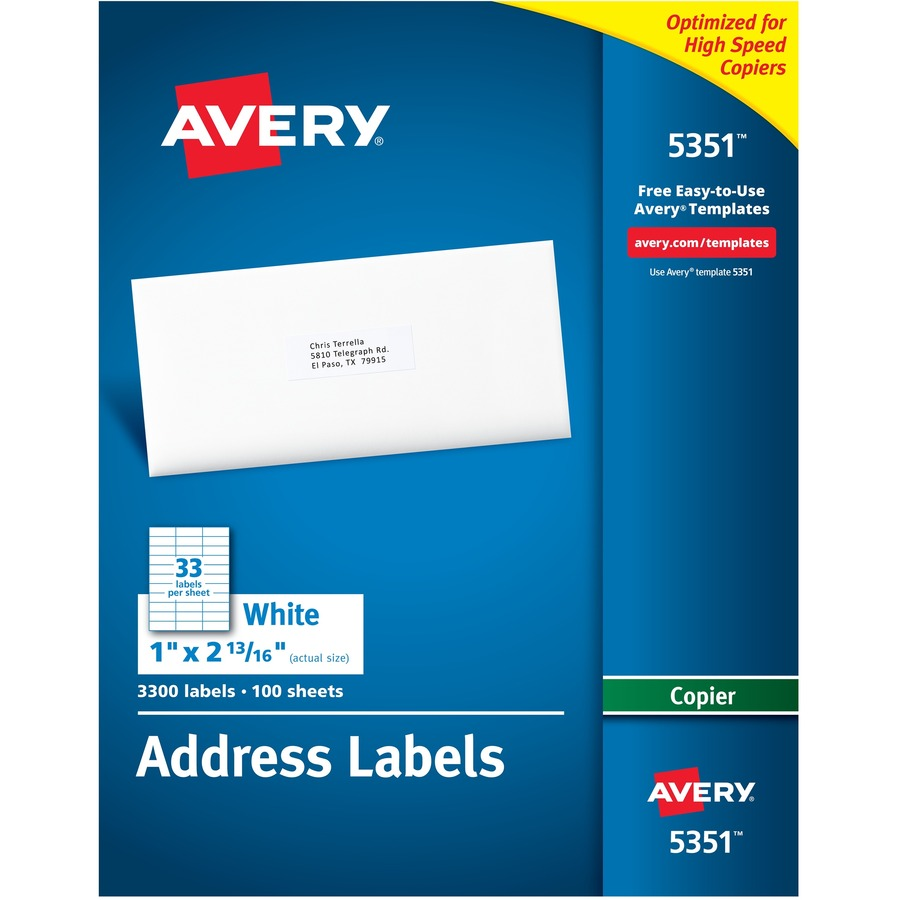 Custom Card Template avery stickers : Avery White Mailing Labels - Yuletide Office Solutions