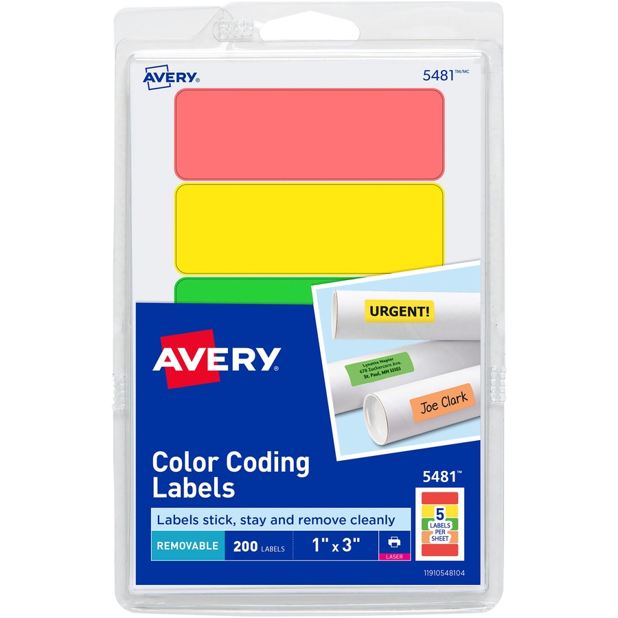 Custom Card Template print avery labels : Avery Print or Write Color Coding Labels