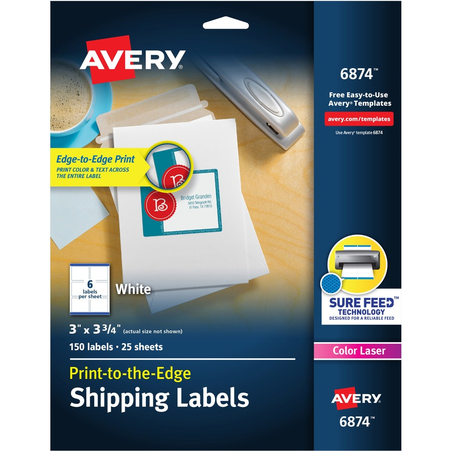 Custom Card Template print avery labels : Avery 6874, Avery Color Printing Label, AVE6874, AVE 6874 ...